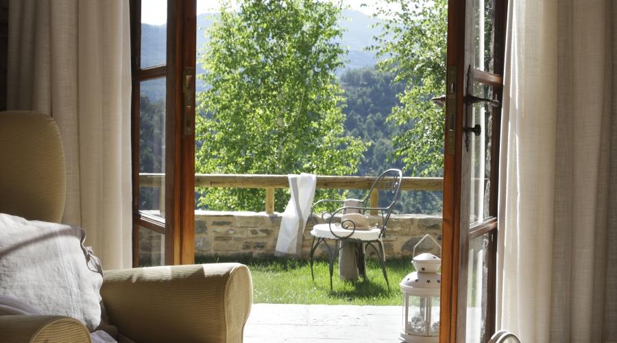 Rusticae Huesca Hotel con encanto Terraza Habitación