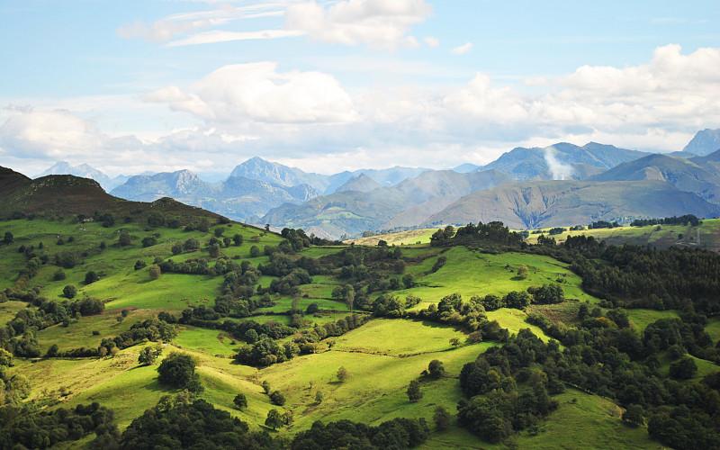 Paisaje Asturias desde hotel Rusticae Amada Carlota