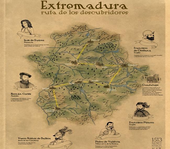 Hoteles  y casas rurales en Extremadura - Ruta de los Descubridores